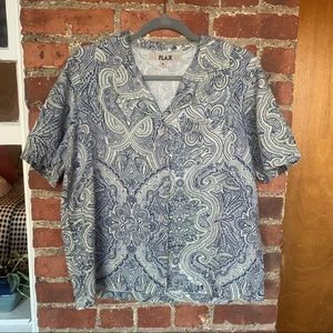 FLAX Blue Paisley Button Down